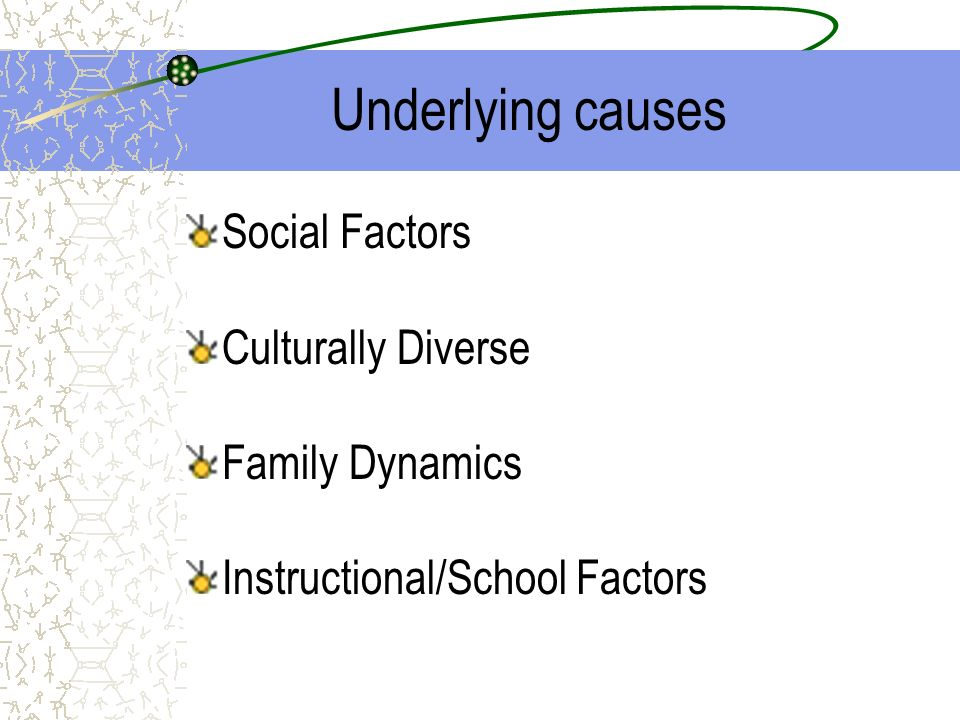 Underlying causes Social Factors Culturally Diverse Family Dynamics