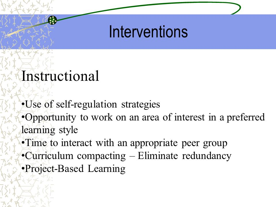 Interventions Instructional Use of self-regulation strategies