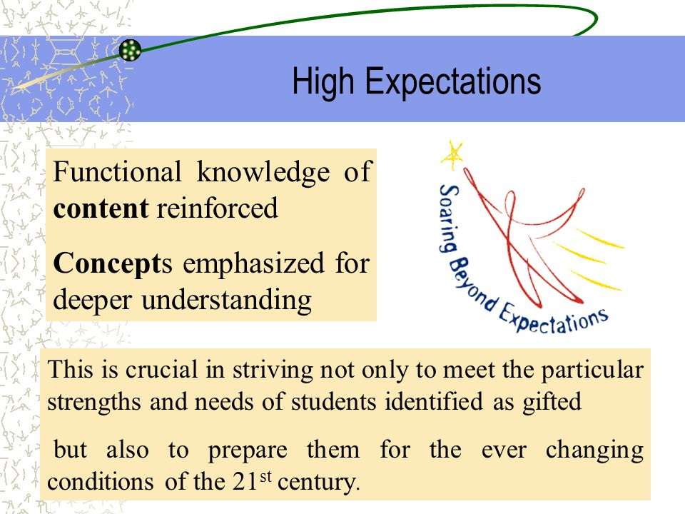 High Expectations Functional knowledge of content reinforced