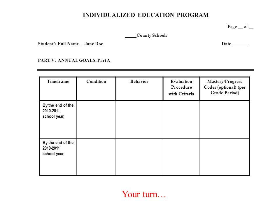 Your turn… INDIVIDUALIZED EDUCATION PROGRAM Page __ of __