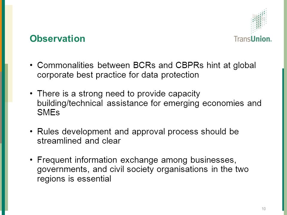 Observation Commonalities between BCRs and CBPRs hint at global corporate best practice for data protection.
