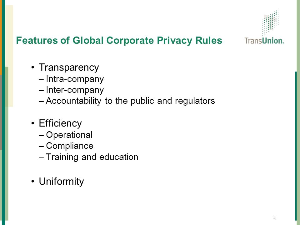 Features of Global Corporate Privacy Rules