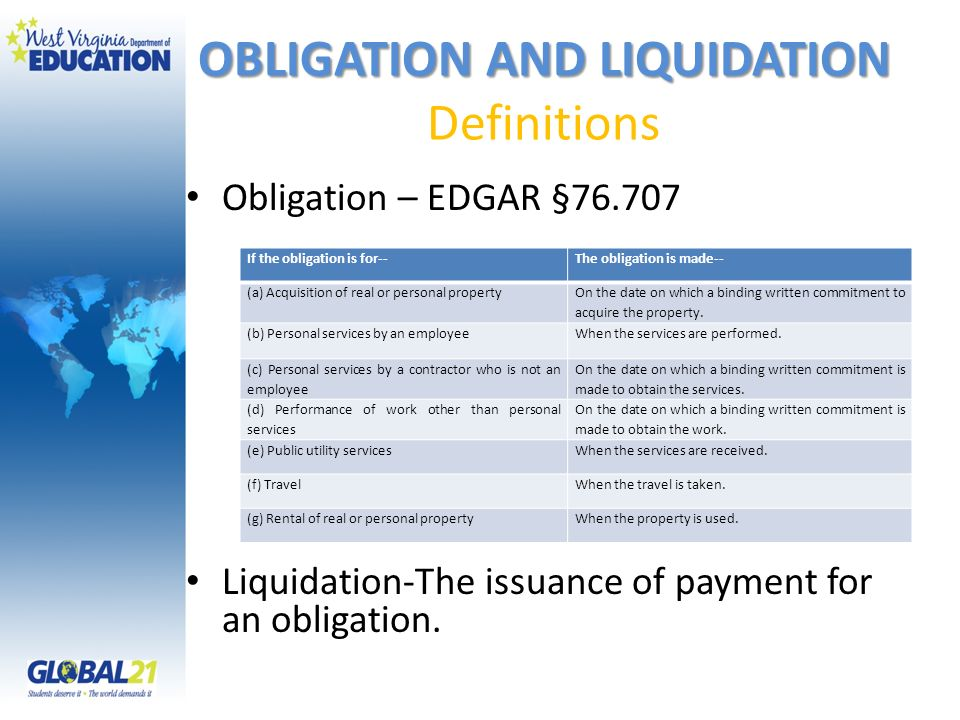 OBLIGATION AND LIQUIDATION Definitions
