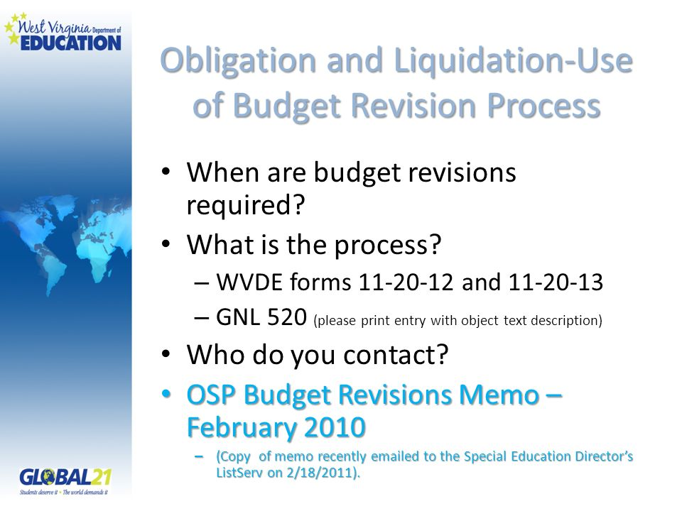 Obligation and Liquidation-Use of Budget Revision Process