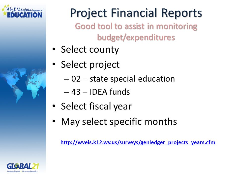 Project Financial Reports Good tool to assist in monitoring budget/expenditures