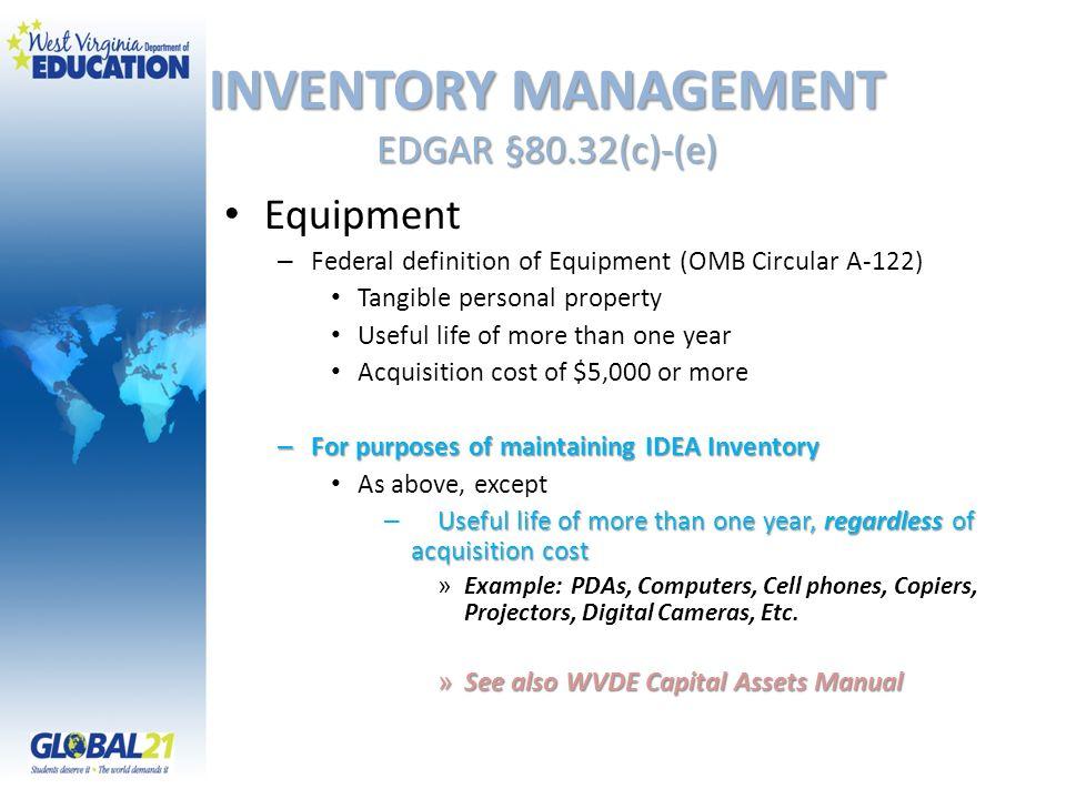 INVENTORY MANAGEMENT EDGAR §80.32(c)-(e)