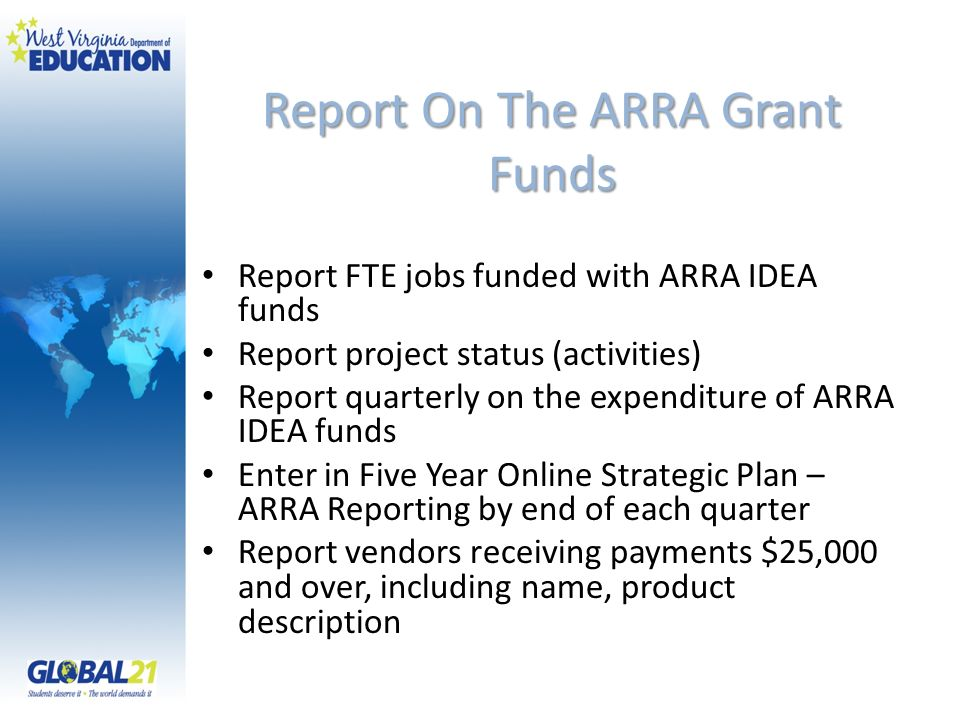 Report On The ARRA Grant Funds