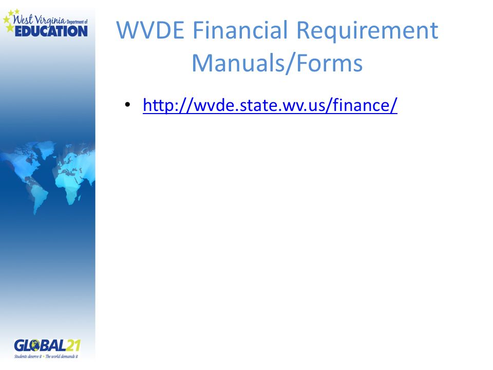 WVDE Financial Requirement Manuals/Forms
