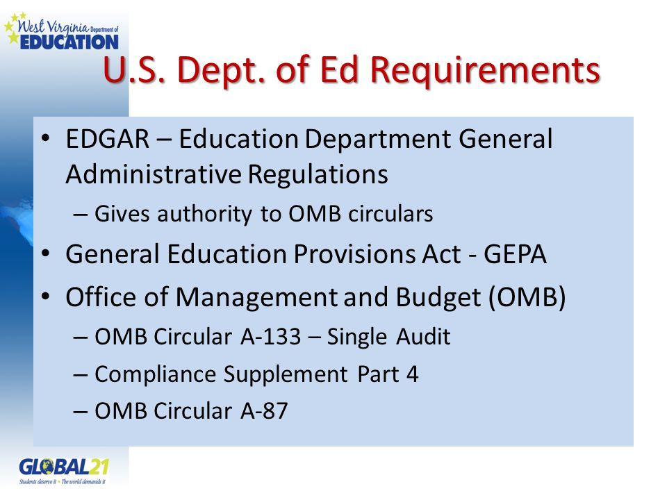 U.S. Dept. of Ed Requirements