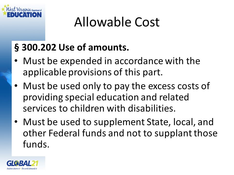 Allowable Cost § Use of amounts.