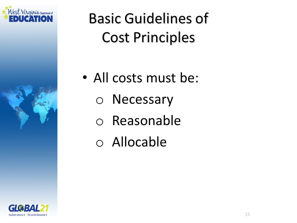 Basic Guidelines of Cost Principles