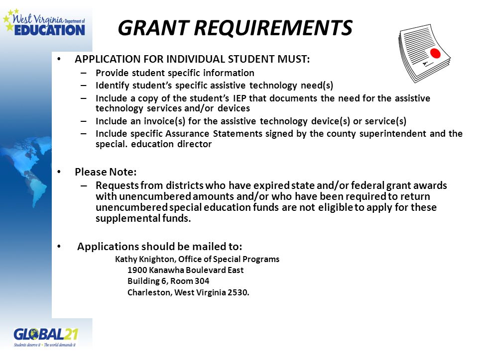 GRANT REQUIREMENTS APPLICATION FOR INDIVIDUAL STUDENT MUST: