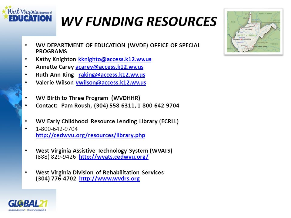 WV FUNDING RESOURCES WV DEPARTMENT OF EDUCATION (WVDE) OFFICE OF SPECIAL PROGRAMS. Kathy Knighton kknighto@access.k12.wv.us.