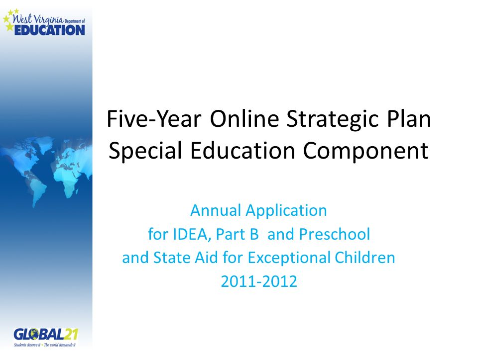 Five-Year Online Strategic Plan Special Education Component