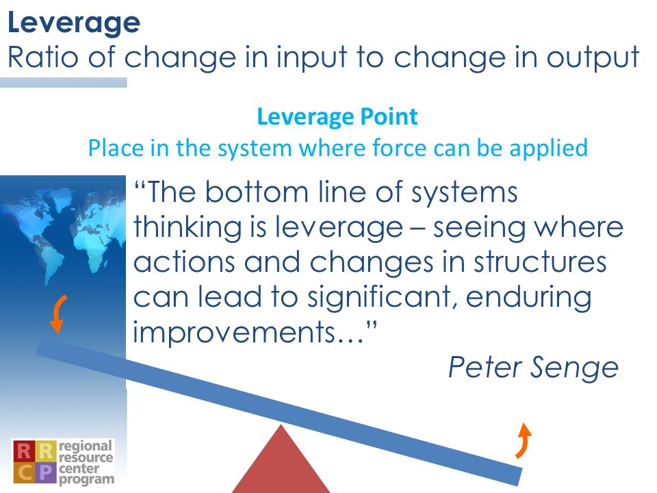 Leverage Point Place in the system where force can be applied