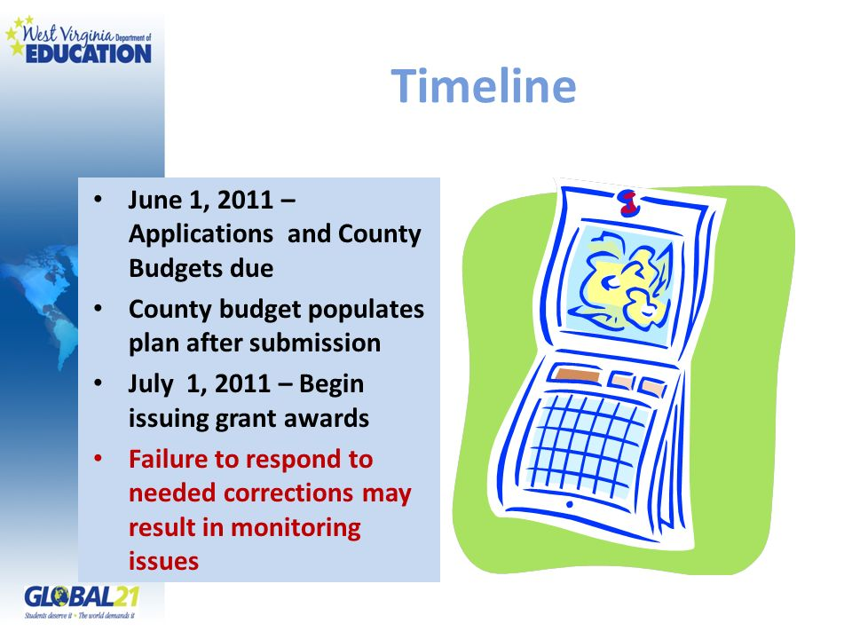 Timeline June 1, 2011 – Applications and County Budgets due