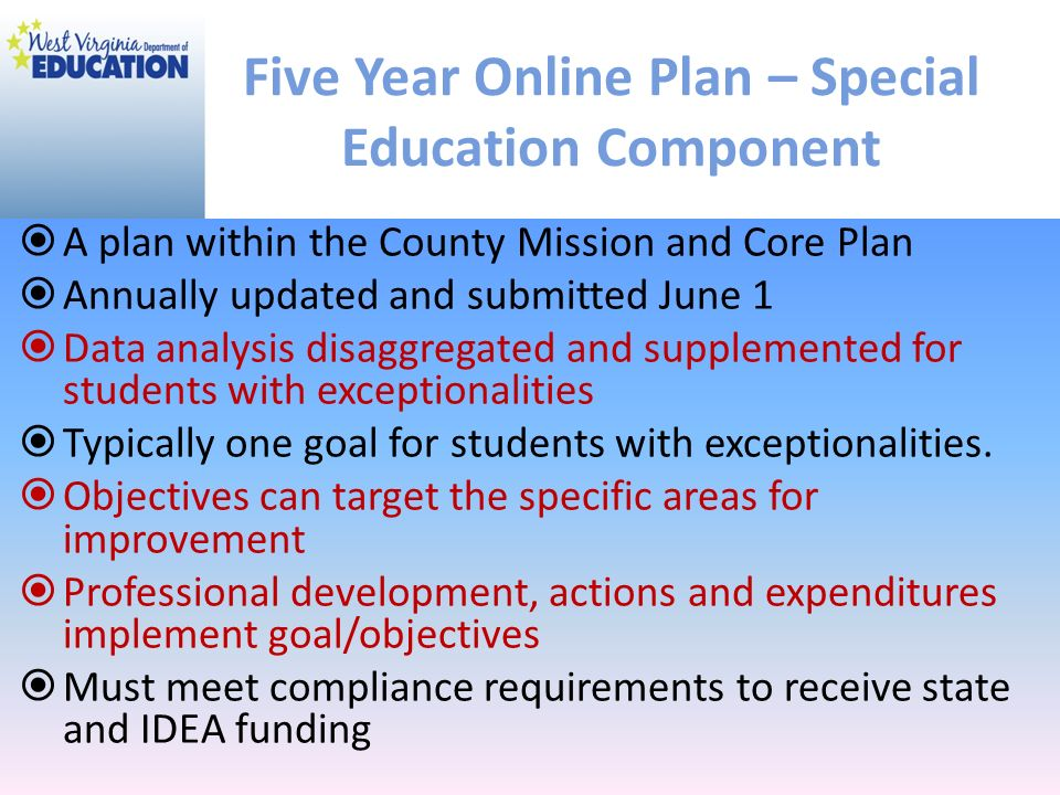 Five Year Online Plan – Special Education Component
