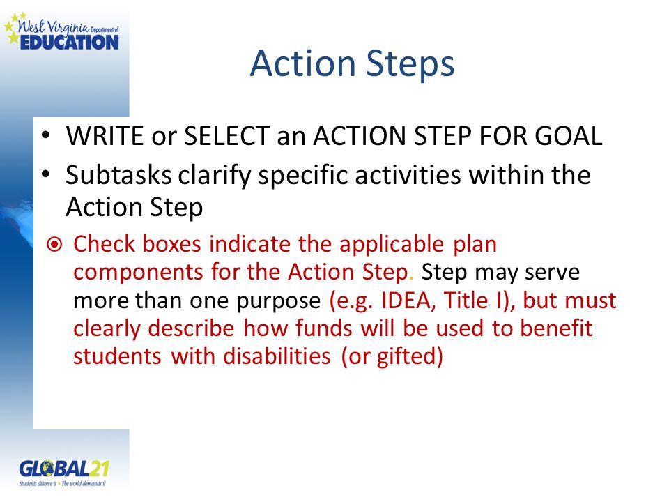 Action Steps WRITE or SELECT an ACTION STEP FOR GOAL