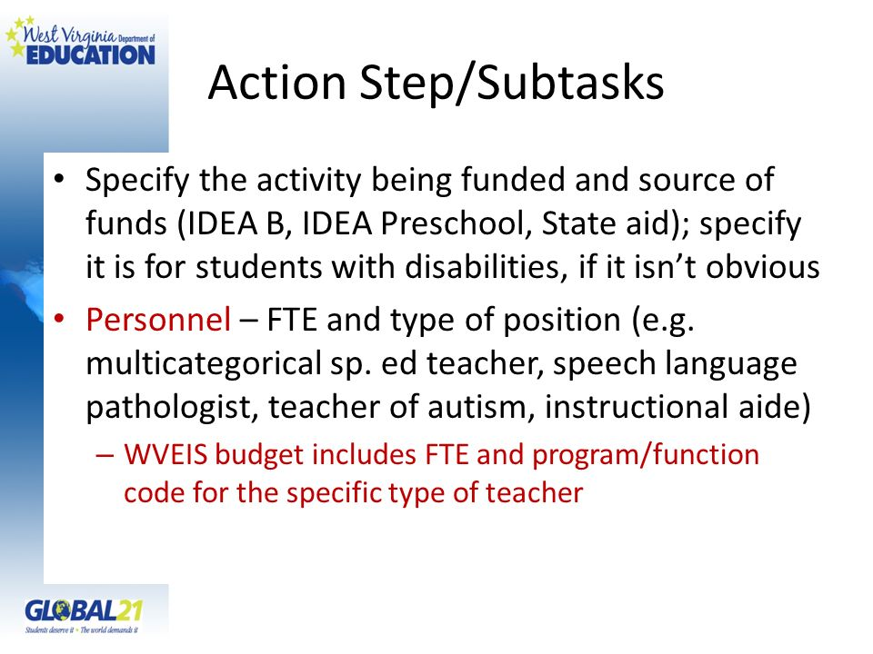 Action Step/Subtasks