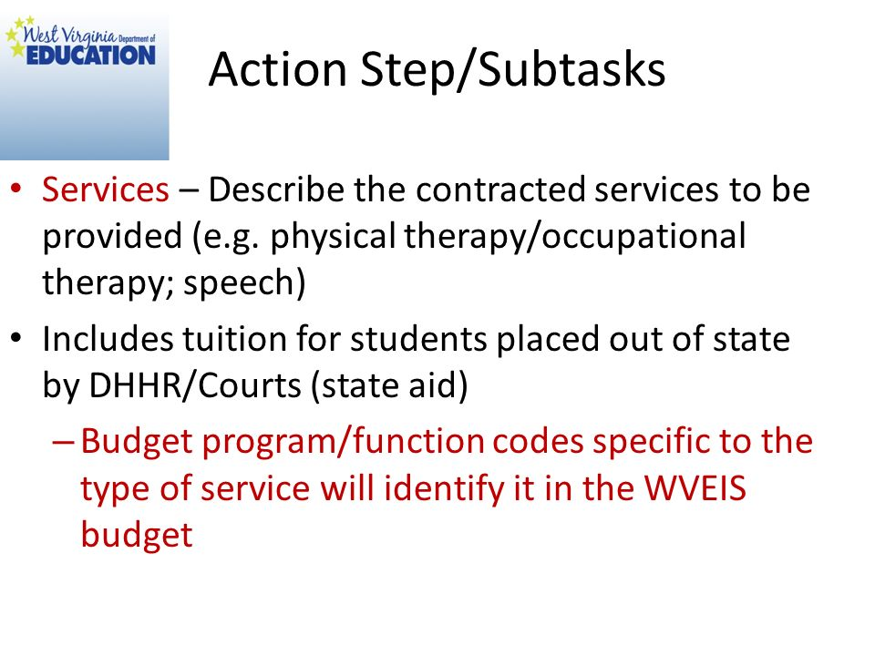 Action Step/Subtasks Services – Describe the contracted services to be provided (e.g. physical therapy/occupational therapy; speech)