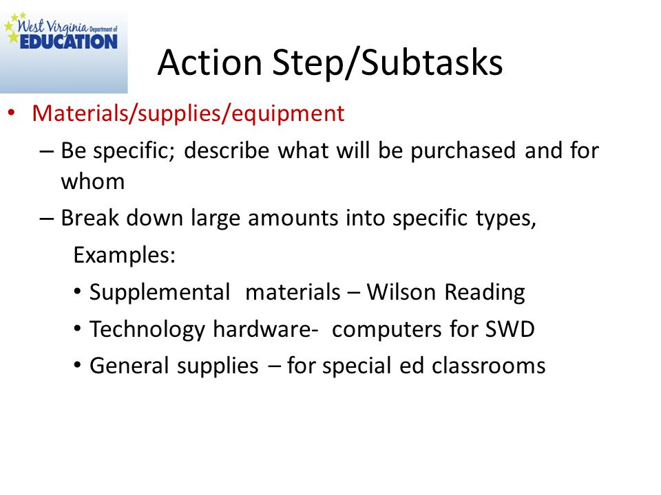Action Step/Subtasks Materials/supplies/equipment