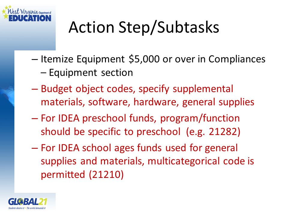 Action Step/Subtasks Itemize Equipment $5,000 or over in Compliances – Equipment section.