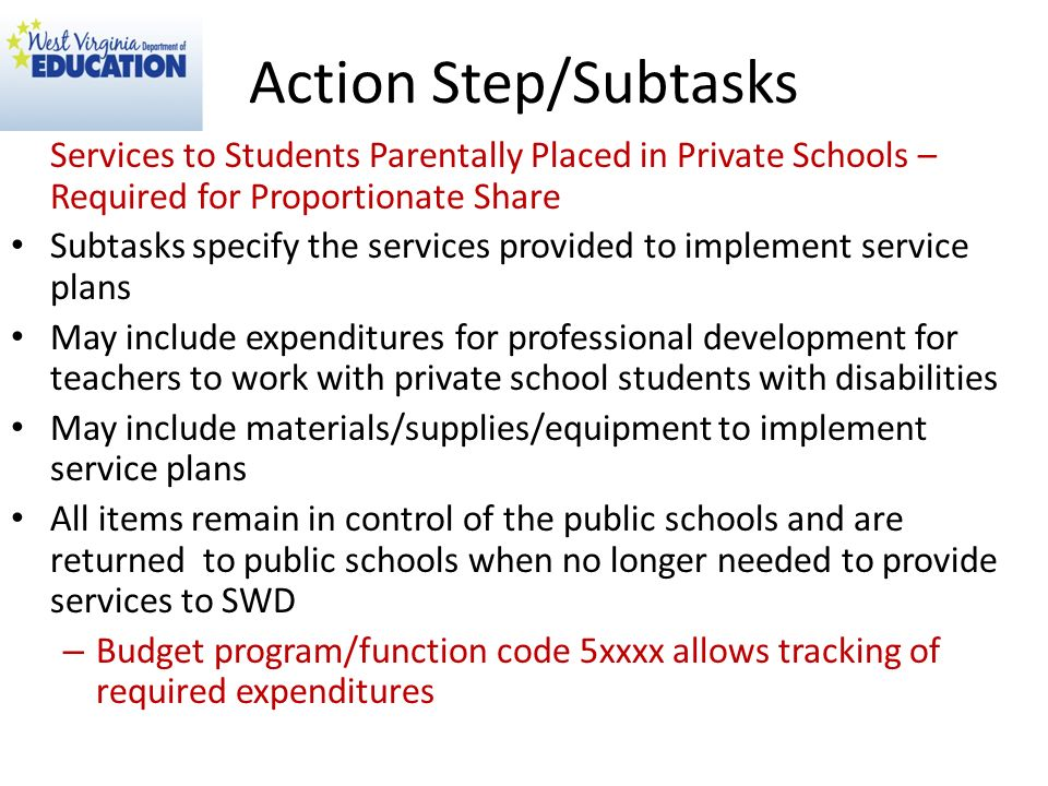 Action Step/Subtasks Services to Students Parentally Placed in Private Schools – Required for Proportionate Share.