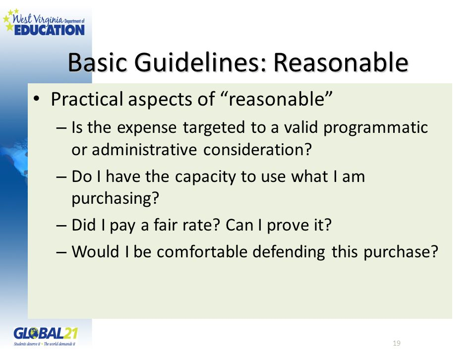 Basic Guidelines: Reasonable