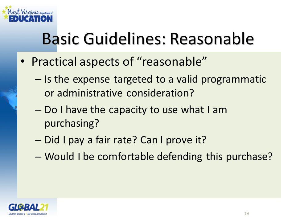 Basic Guidelines: Reasonable