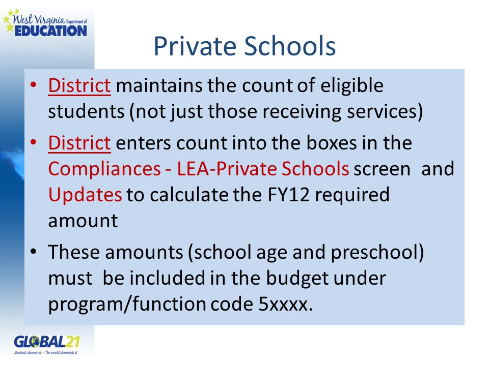 Private Schools District maintains the count of eligible students (not just those receiving services)