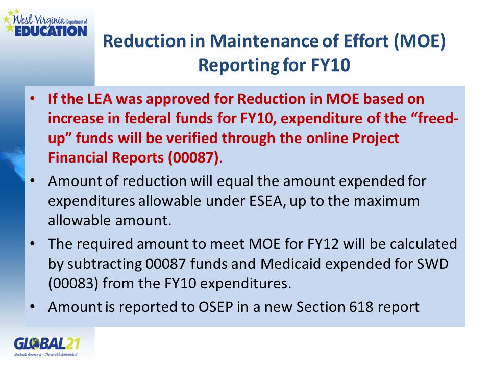 Reduction in Maintenance of Effort (MOE) Reporting for FY10