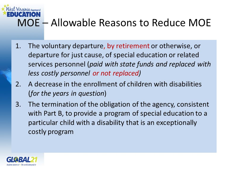 MOE – Allowable Reasons to Reduce MOE