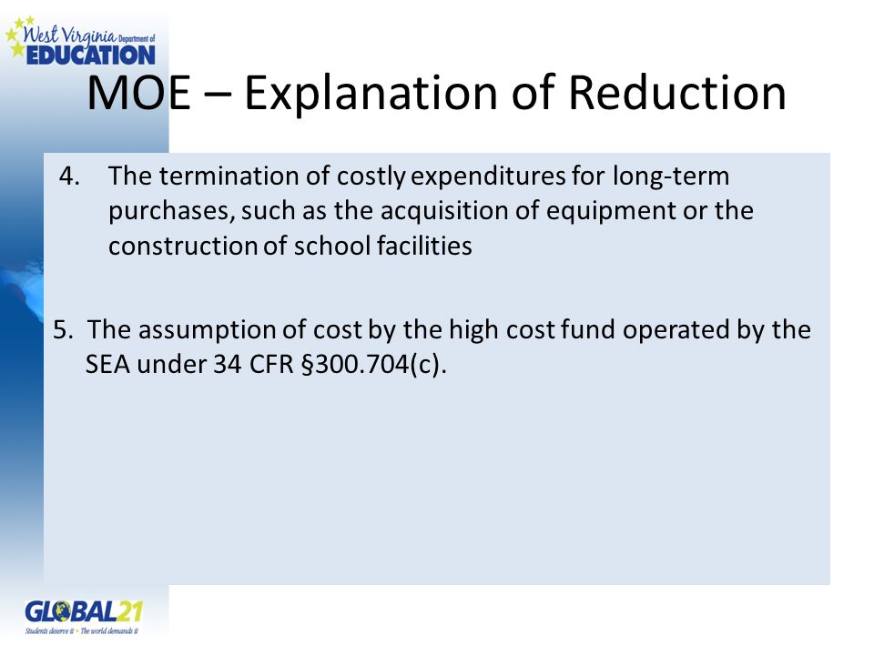 MOE – Explanation of Reduction