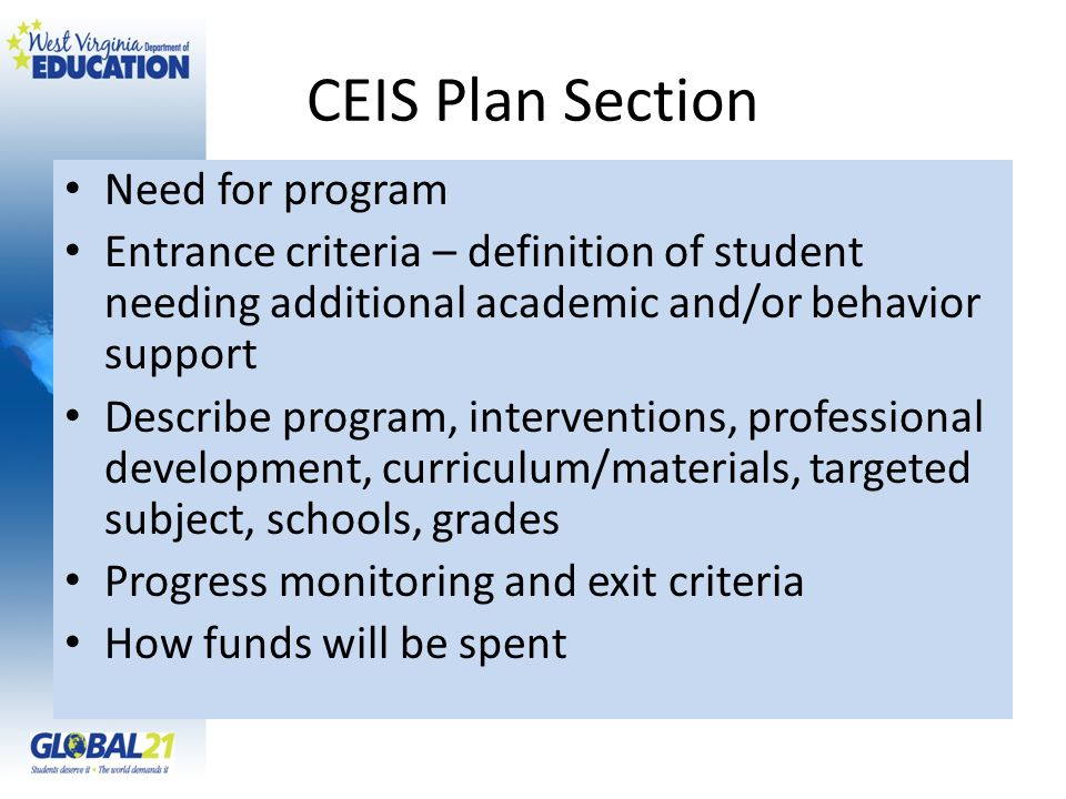 CEIS Plan Section Need for program