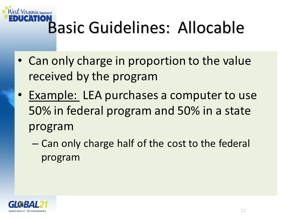 Basic Guidelines: Allocable