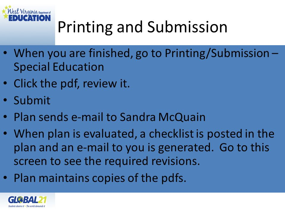 Printing and Submission
