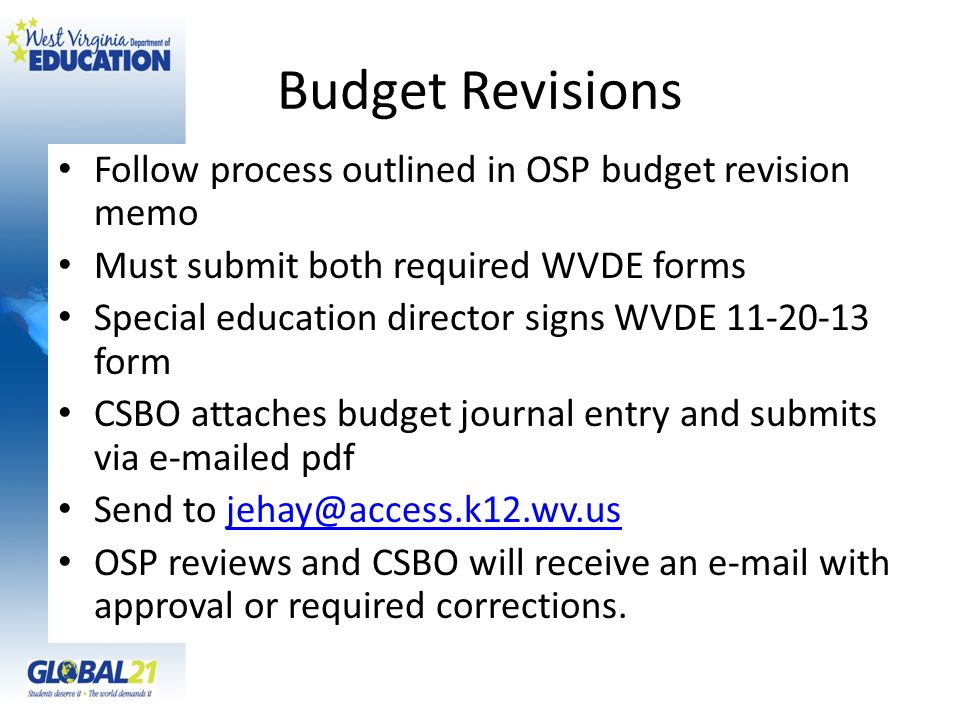 Budget Revisions Follow process outlined in OSP budget revision memo