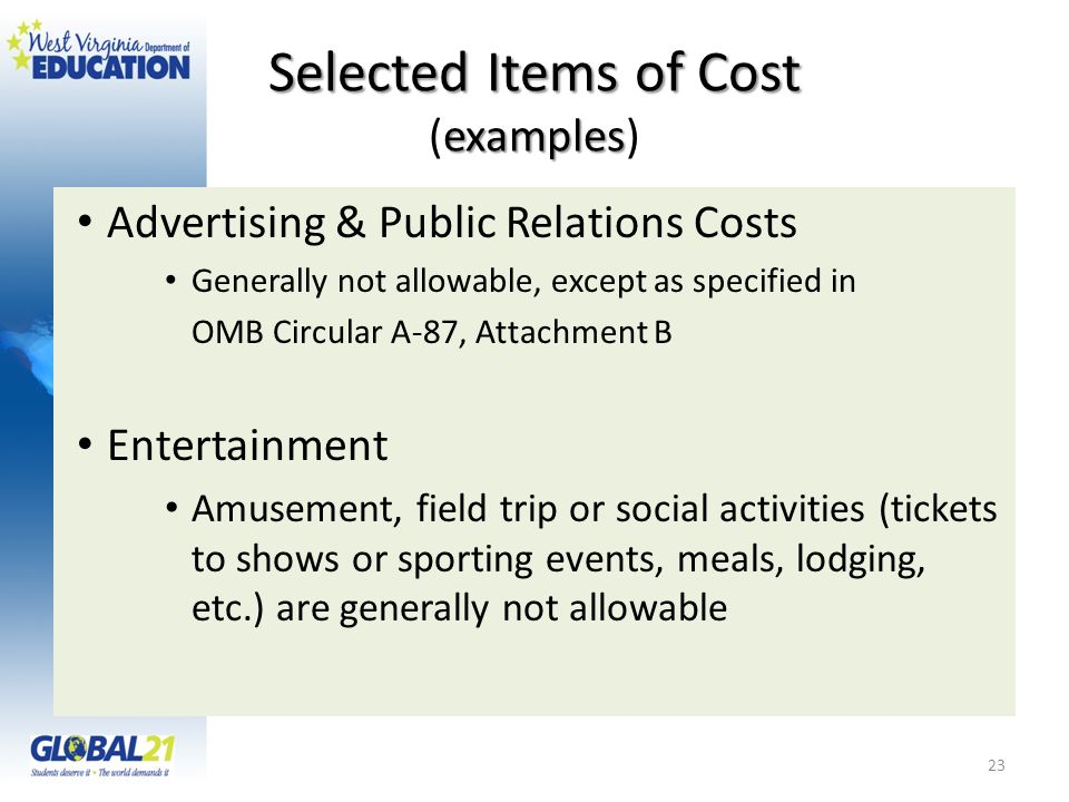 Selected Items of Cost (examples)