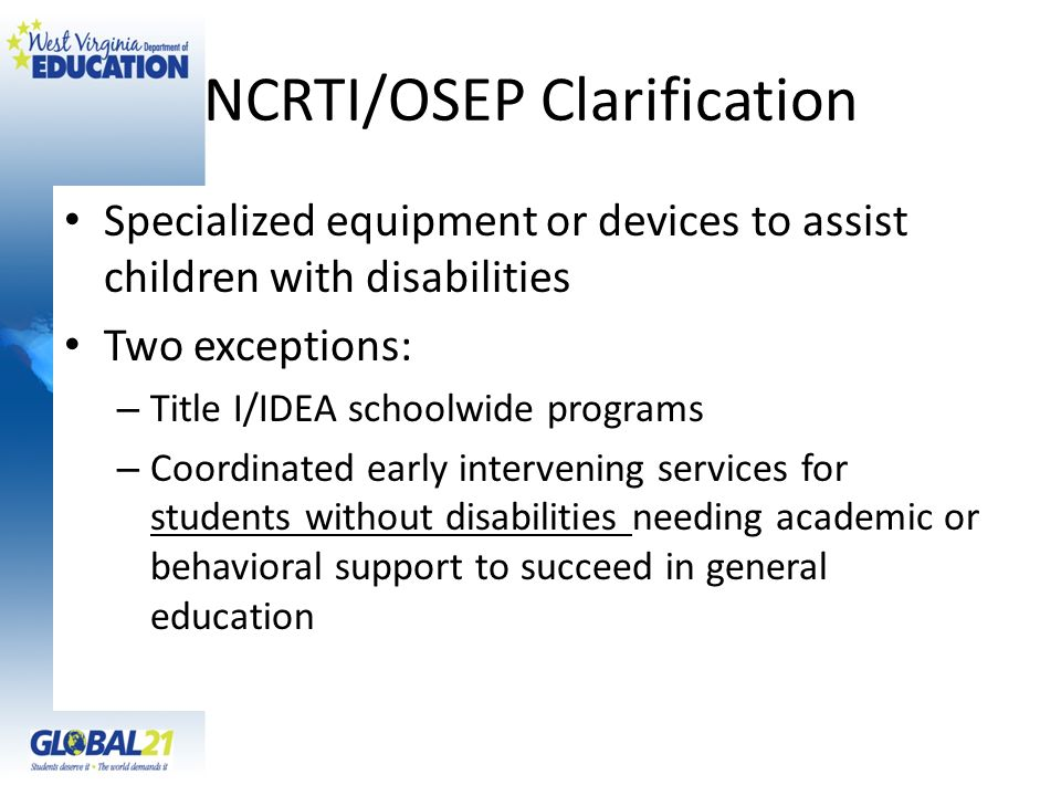NCRTI/OSEP Clarification
