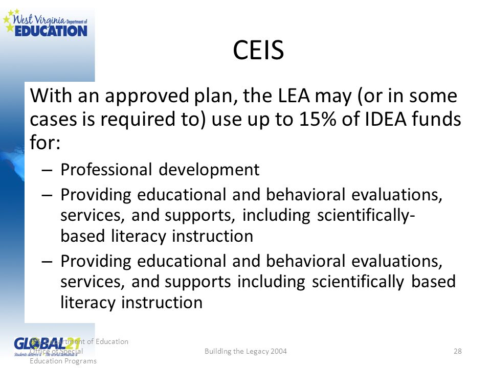 CEIS With an approved plan, the LEA may (or in some cases is required to) use up to 15% of IDEA funds for: