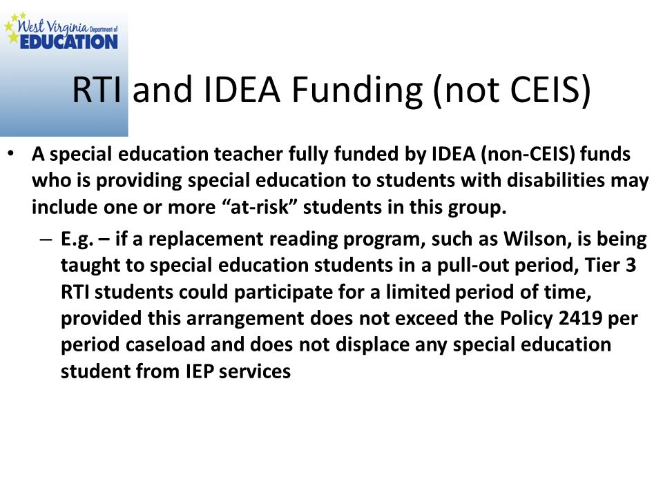RTI and IDEA Funding (not CEIS)