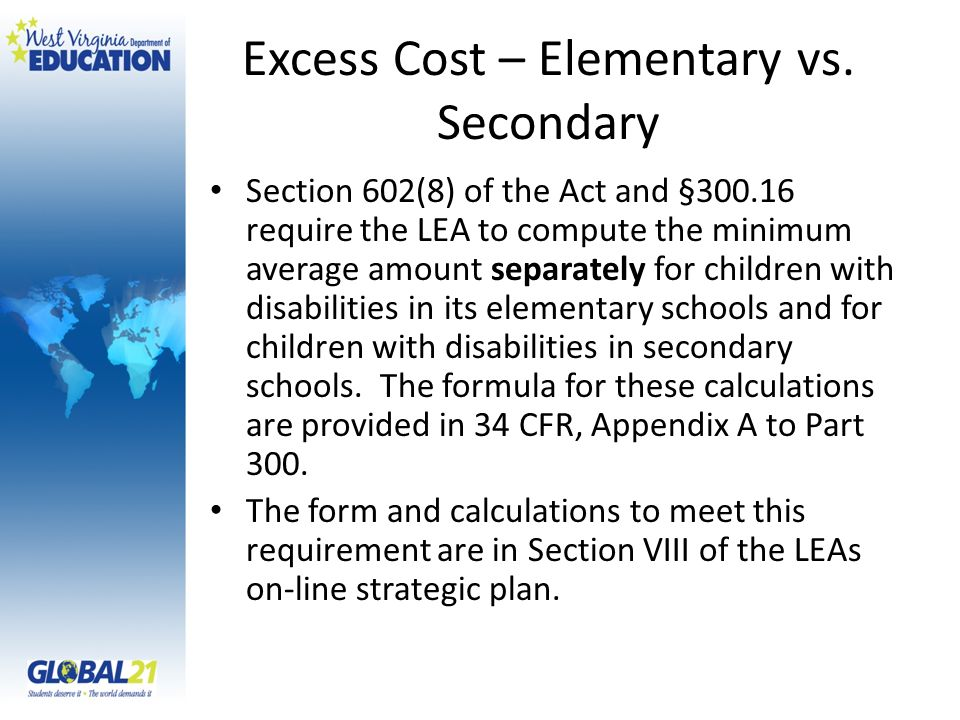 Excess Cost – Elementary vs. Secondary