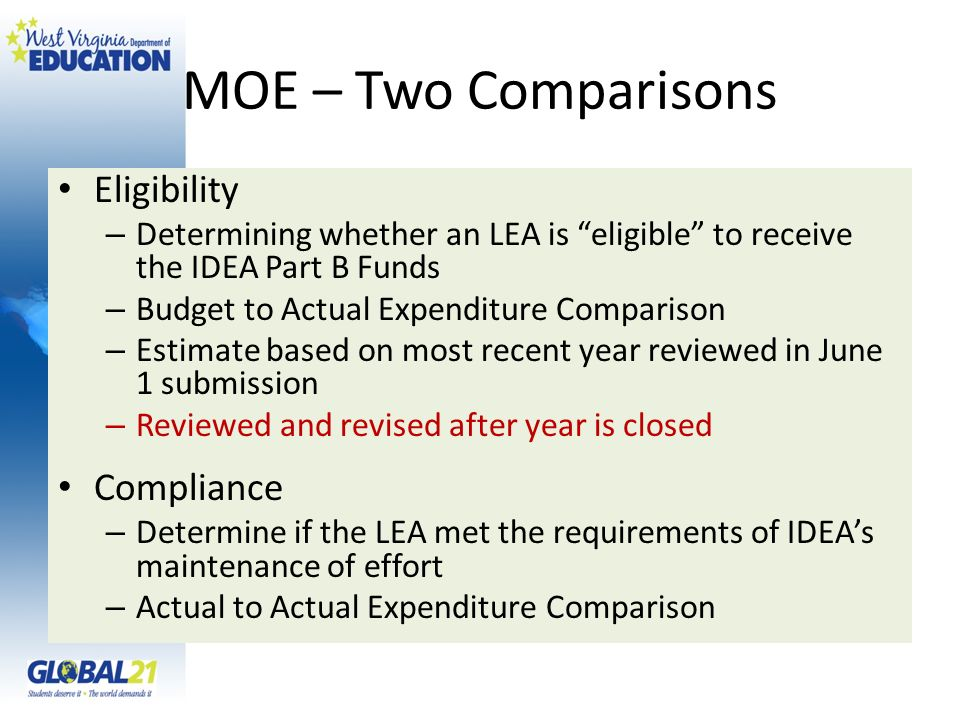 MOE – Two Comparisons Eligibility Compliance
