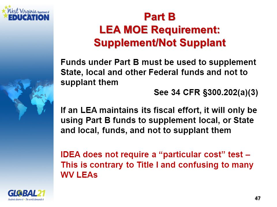 Part B LEA MOE Requirement: Supplement/Not Supplant