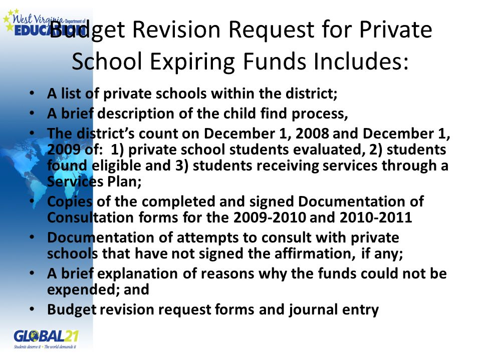 Budget Revision Request for Private School Expiring Funds Includes: