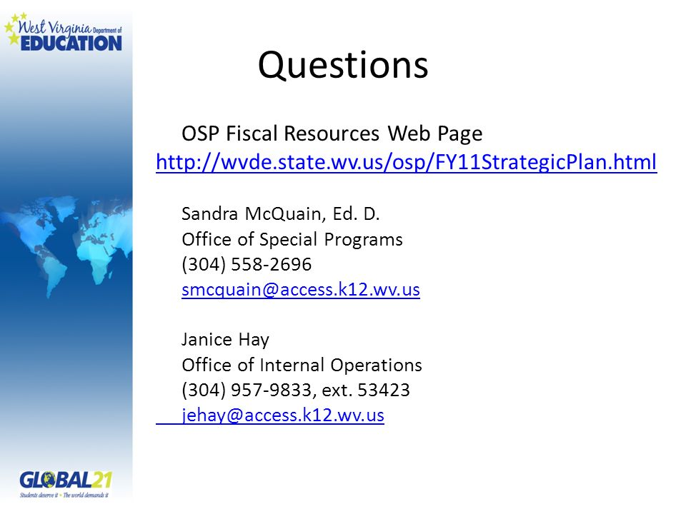 Questions OSP Fiscal Resources Web Page