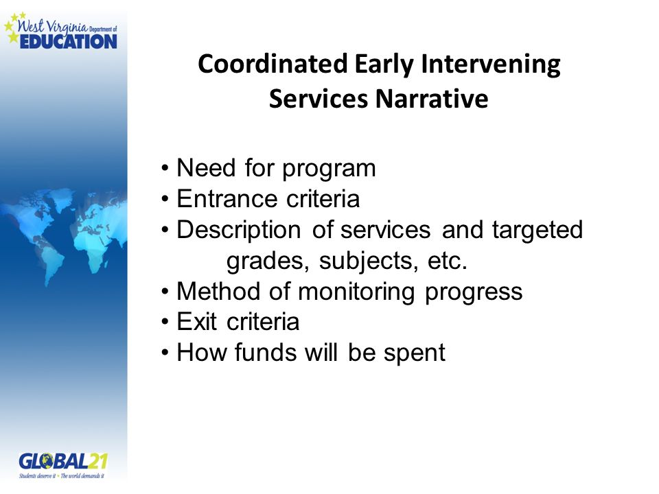 Coordinated Early Intervening Services Narrative