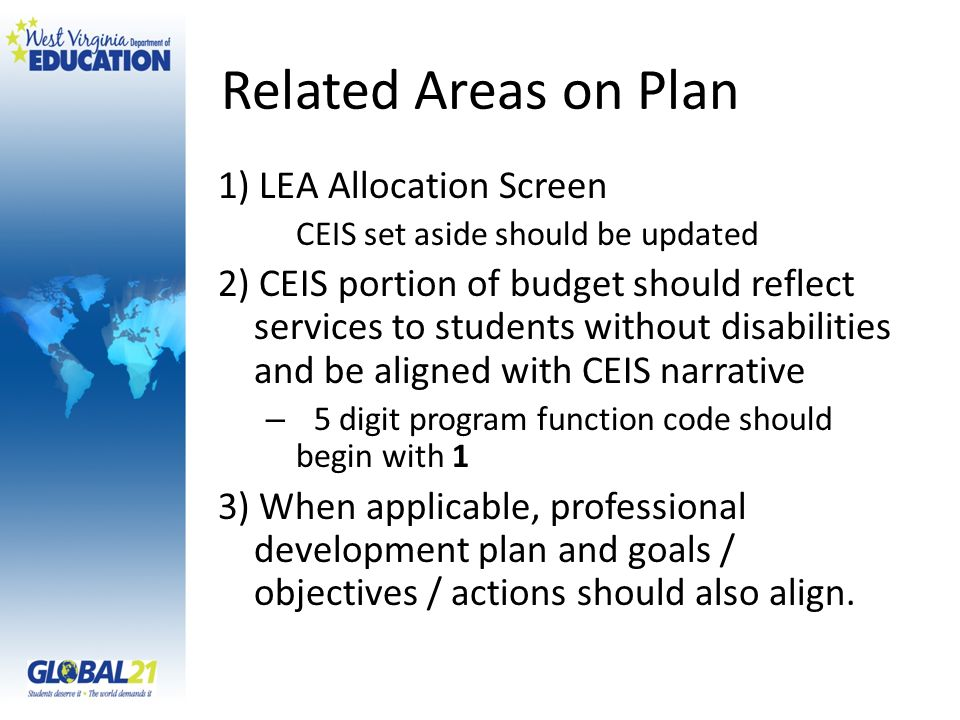 Related Areas on Plan 1) LEA Allocation Screen
