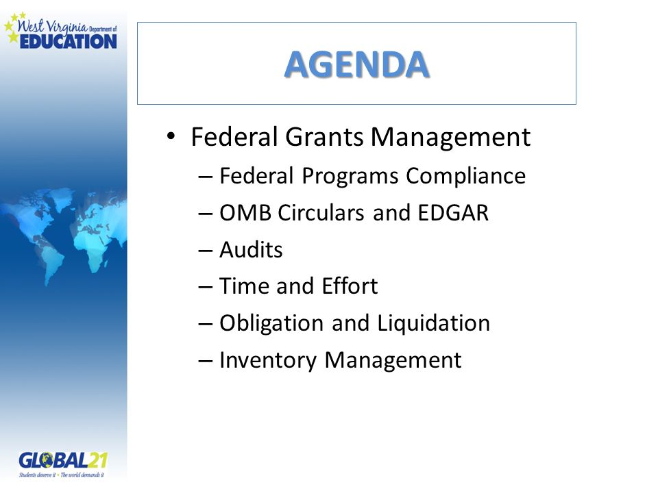 AGENDA Federal Grants Management Federal Programs Compliance