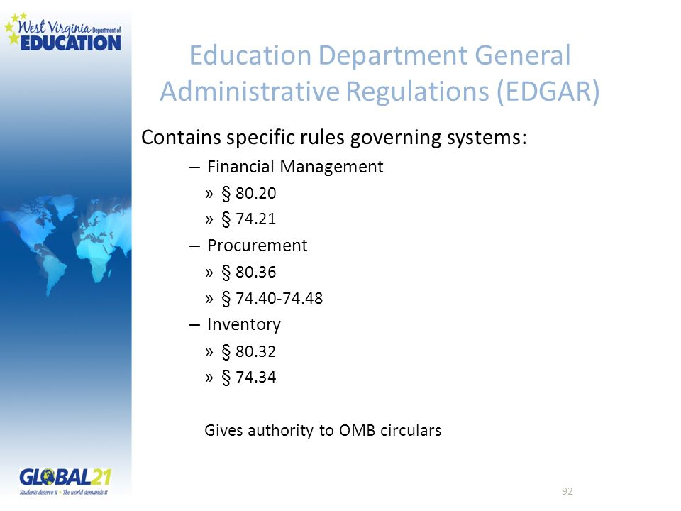 Education Department General Administrative Regulations (EDGAR)